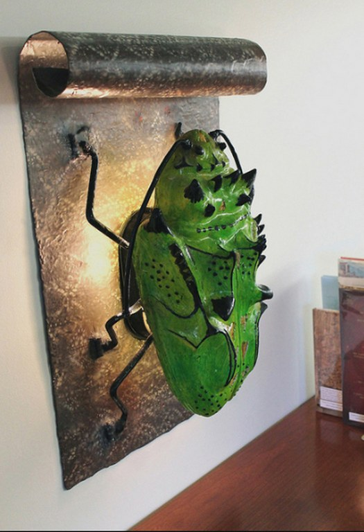Beetle Wall Sconce at the Public Library in Topanga, CA by Pavlovs Dream