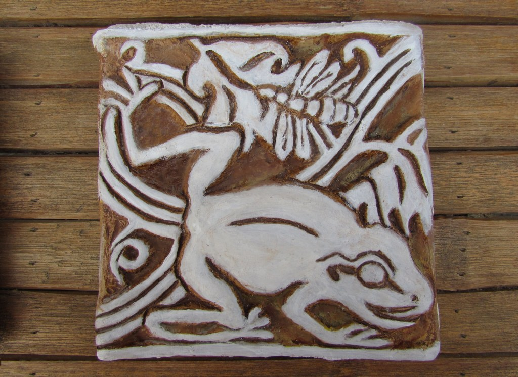 Frog and Dragonfly Cement Tile by Pavlovs Dream