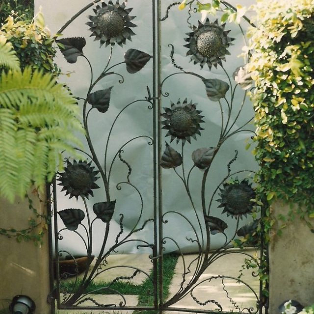 Steel Sunflower Garden Gate by Pavlovs Dream