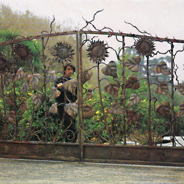 Steel Sunflower Driveway Gate in Malibu, CA by Pavlovs Dream