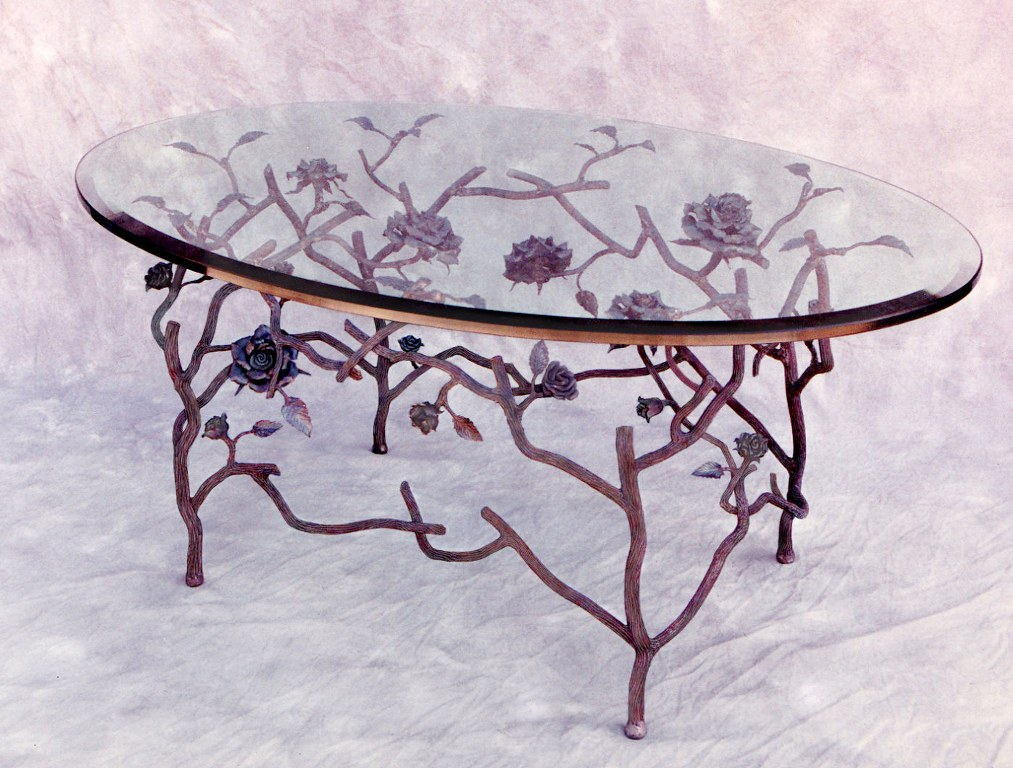 Steel and Glass Rose Table by Pavlovs Dream