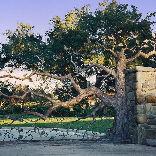 Steel Tree Driveway Gate in Ojai, CA by Pavlovs Dream