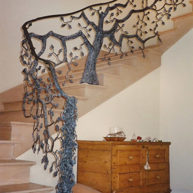 Steel Tree Stair Railing by Pavlovs Dream